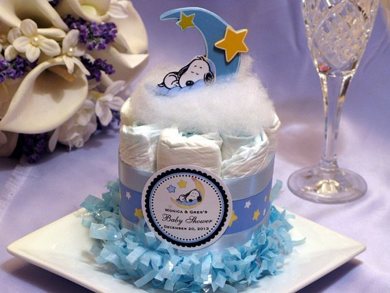 Snoopy Baby Shower Diaper Cake Decoration