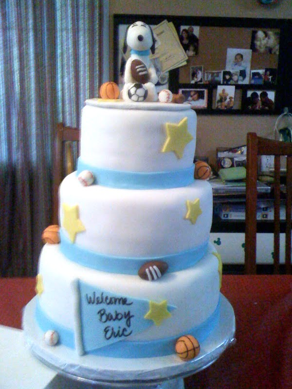 Sport Snoopy Baby Shower Cake Decoration