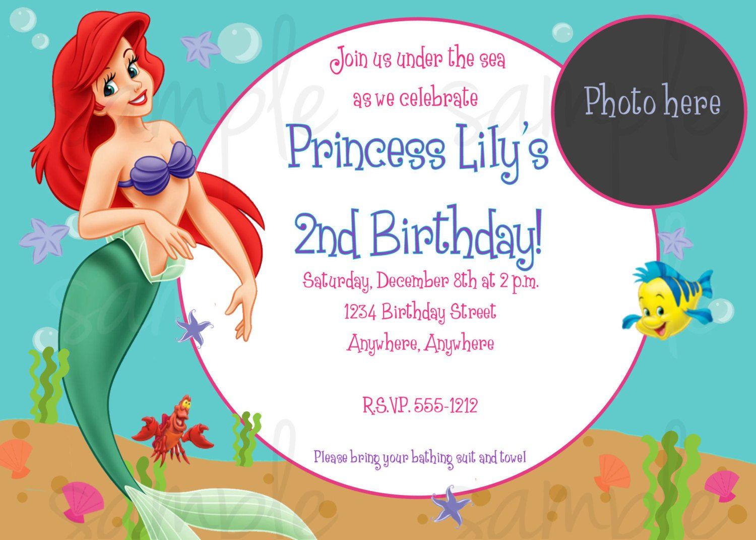 birthday invitation,birthday invitation templates mermaid,free mermaid ...