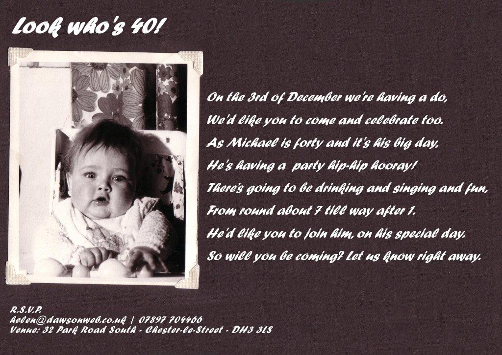 Vintage 40th Birthday Party Invitation Wording Ideas