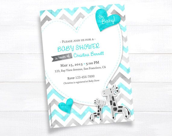 heart tifanny blue baby shower invitations