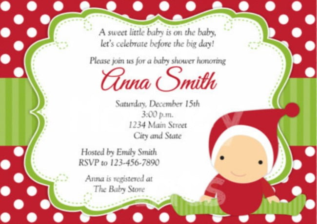 santa christmas baby shower invitations