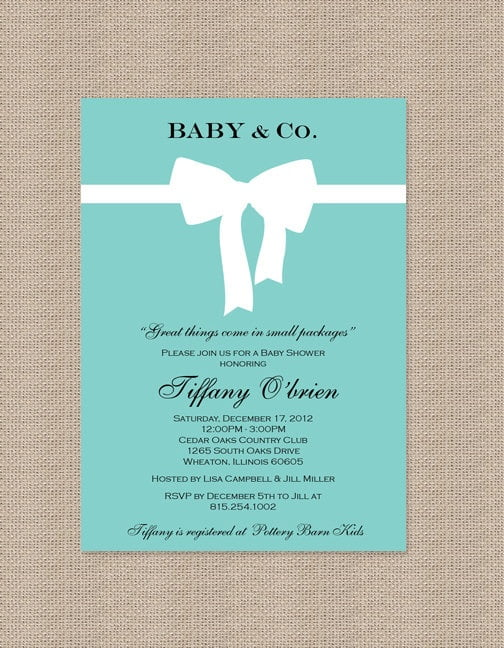 ribbon tifanny blue baby shower invitations