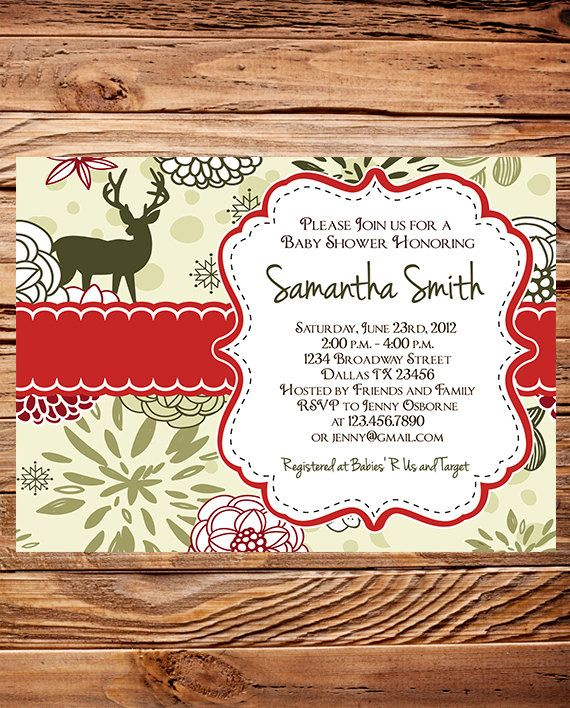 deer christmas baby shower invitations