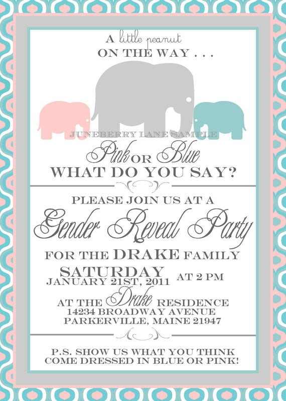 pink gender reveal baby shower invitations