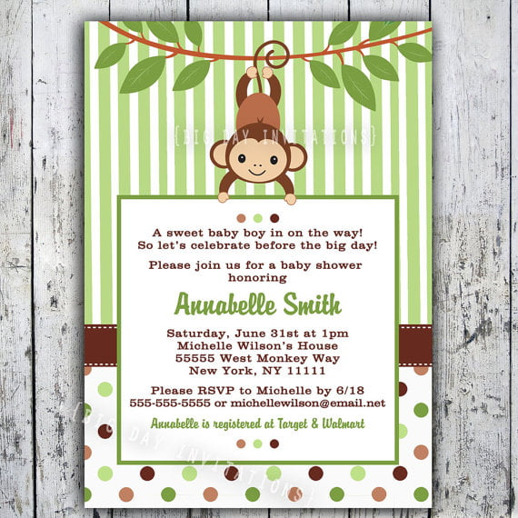 Free Printable Monkey Baby Shower Invitations is an amazing ideas you had to choose for invitation design