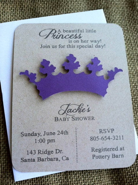 purple princess theme baby shower invitations