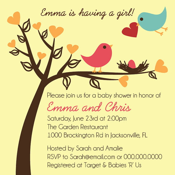 Bird baby shower invitations free printable baby shower colorful bird baby shower invitations filmwisefo Image collections