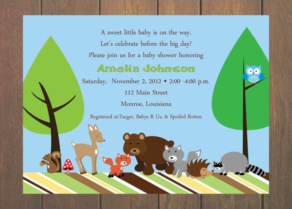 bear animal baby shower invitations