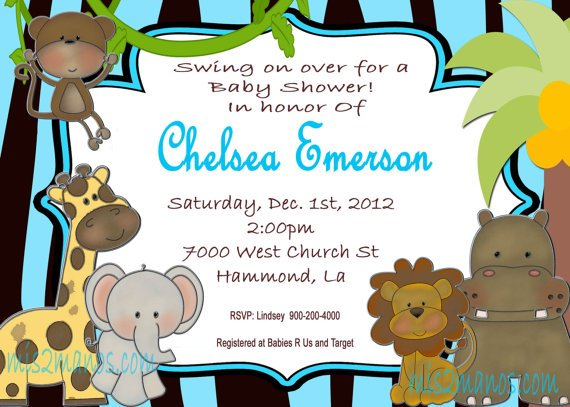 monkey animal baby shower invitations