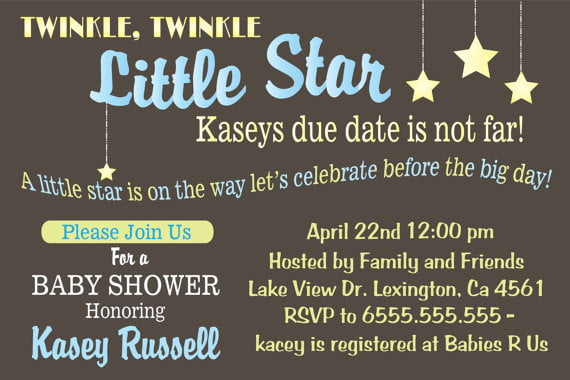 fun twinkle twinkle baby shower invitations