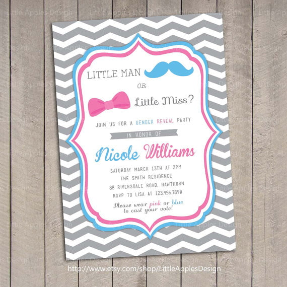 mustache reveal baby shower invitations