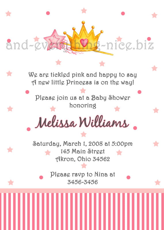 pink princess theme baby shower invitations