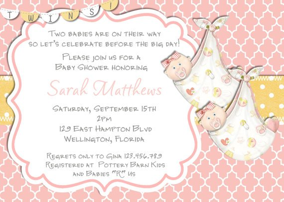 pink twin girl baby shower invitation