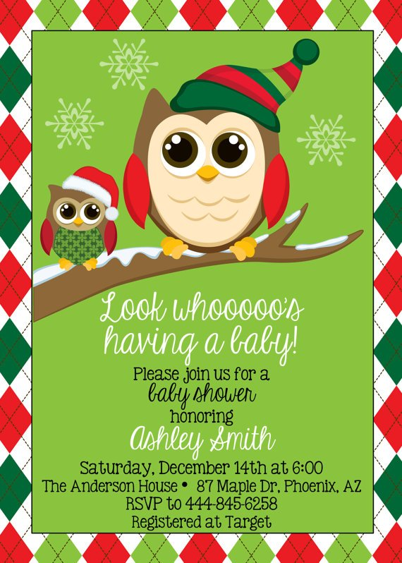 owl christmas baby shower invitations