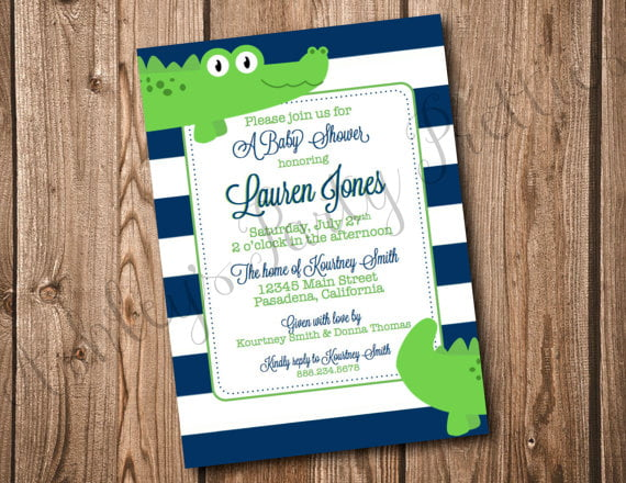 crocodile make your own baby shower invitations free