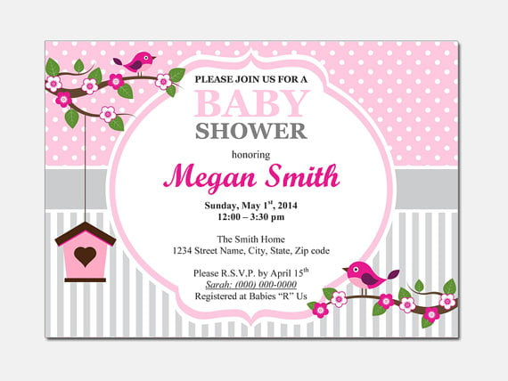 bird free baby shower invitation templates for word