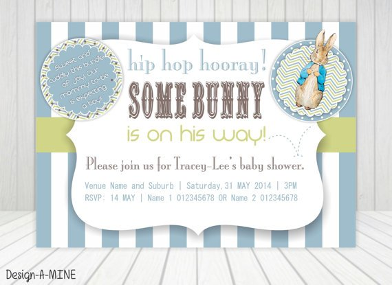 blue and white stripped peter rabbit baby shower invitations