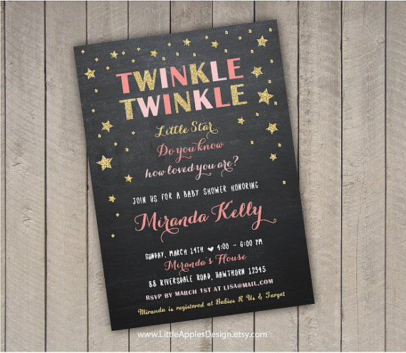 sparkles twinkle twinkle baby shower invitations