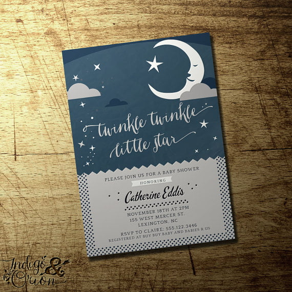 moonlight twinkle twinkle baby shower invitations