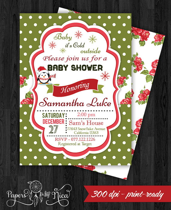 motif christmas baby shower invitations