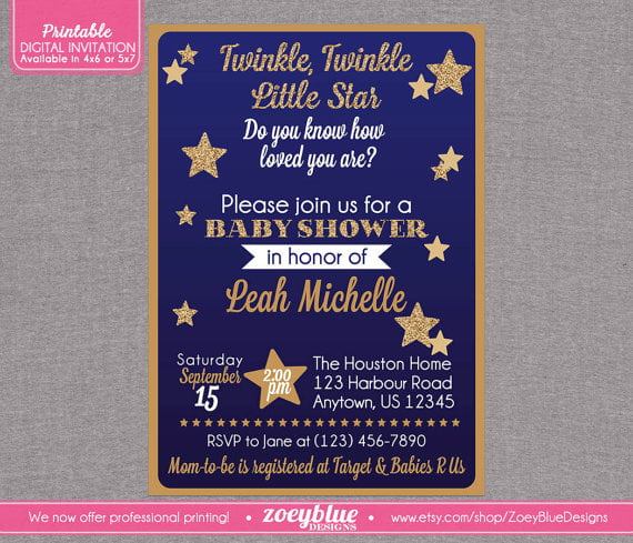 purple twinkle twinkle little star baby shower invitations