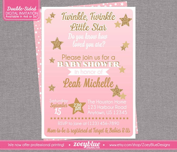 pink twinkle twinkle little star baby shower invitations