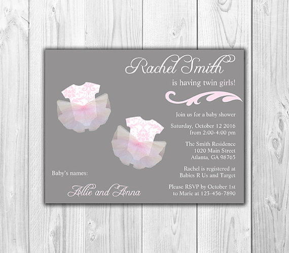 chalkboard twin girl baby shower invitations