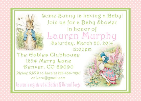 storybook peter rabbit baby shower invitations