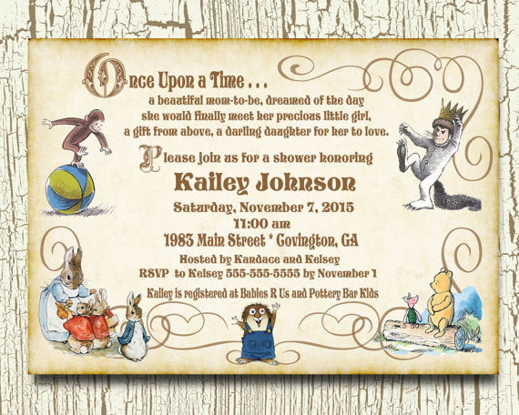 once upon a time baby shower invitations, Baby shower