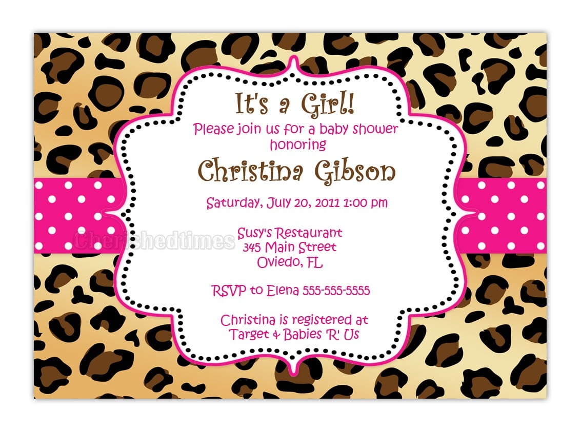 cheetah print baby shower invitations  baby shower for parents, Baby shower invitations