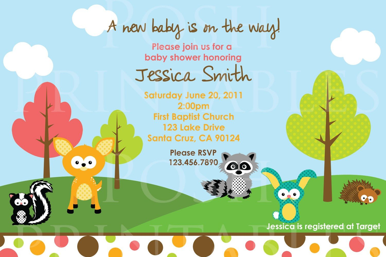 racoon animal baby shower invitations