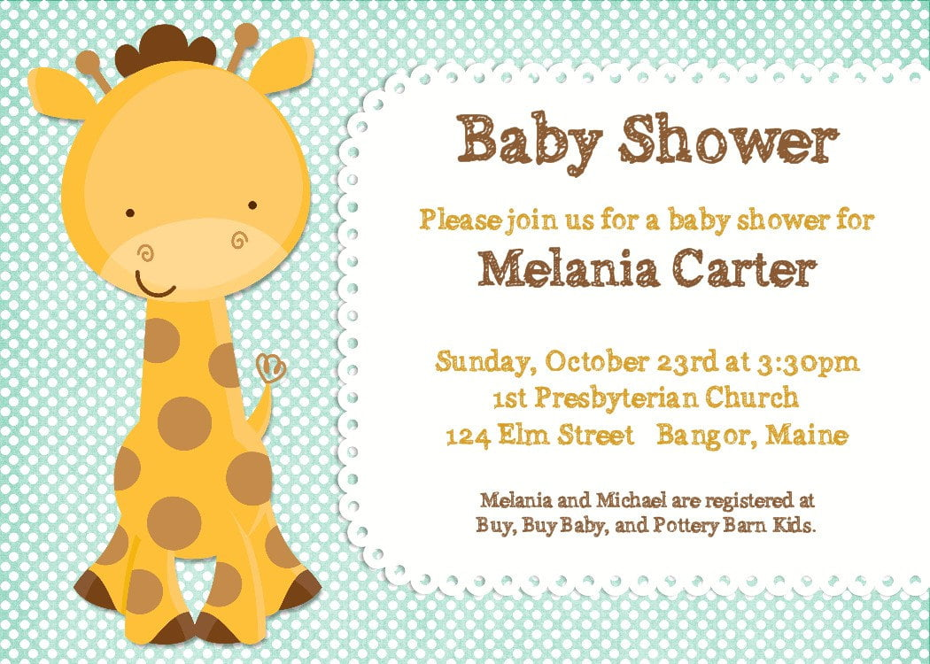 giraffe animal baby shower invitations