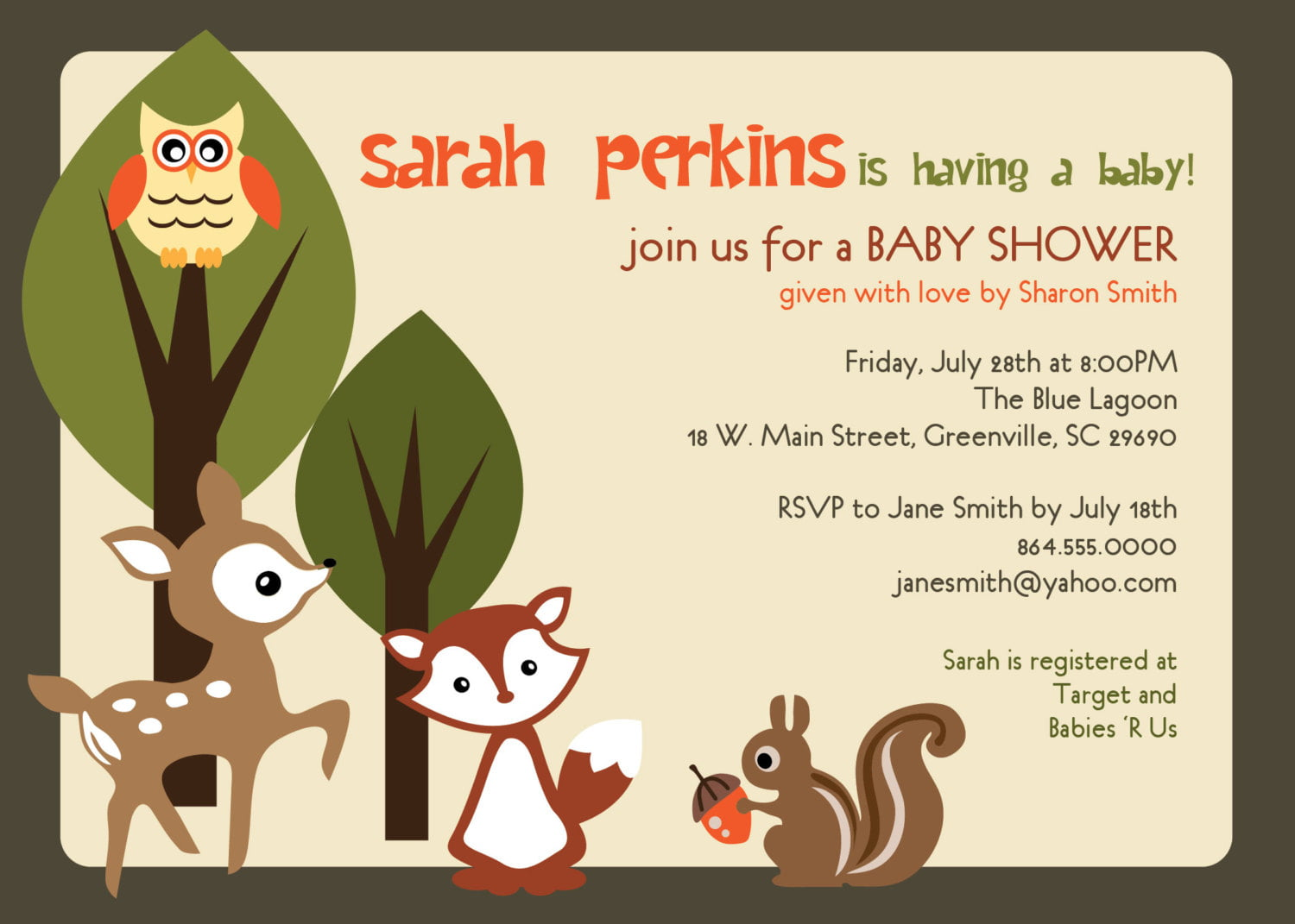 deer animal baby shower invitations