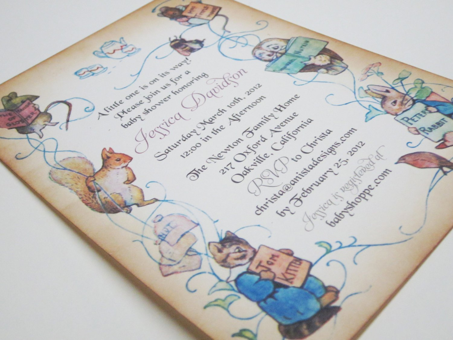 books peter rabbit baby shower invitations