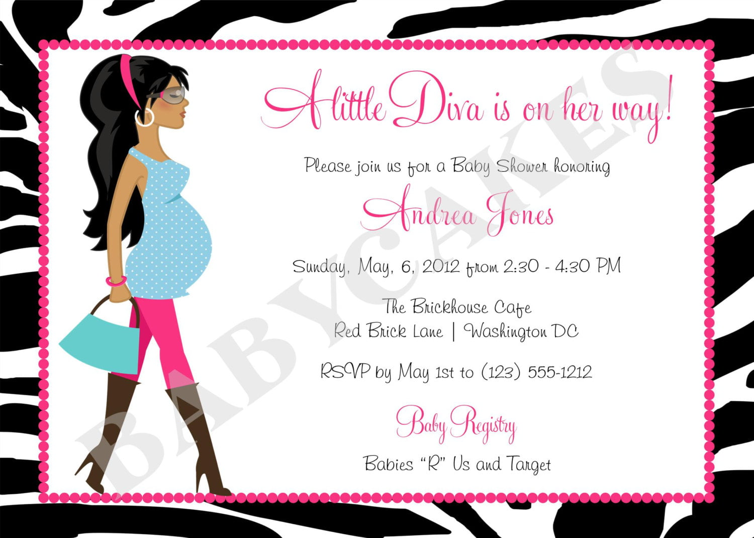 zebra motif make your own baby shower invitations free