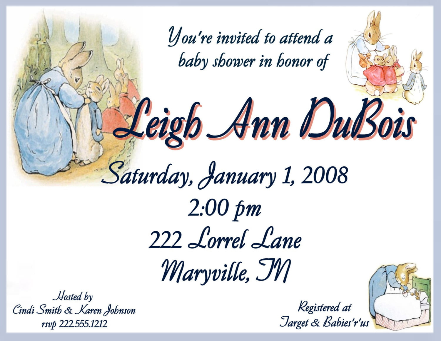 classic peter rabbit baby shower invitations