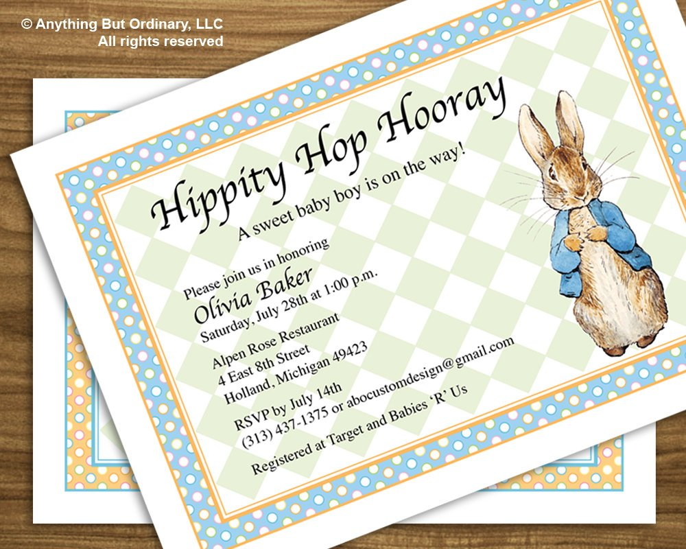 cute peter rabbit baby shower invitations