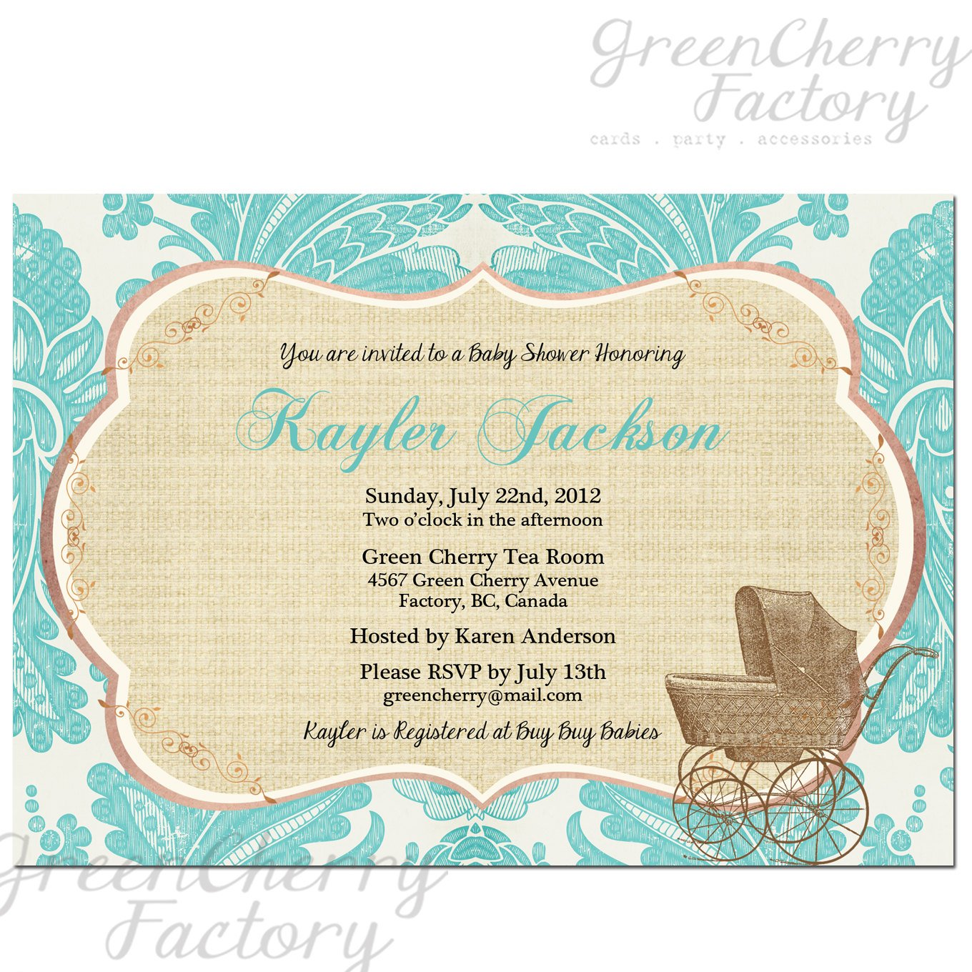 cart tifanny blue baby shower invitations