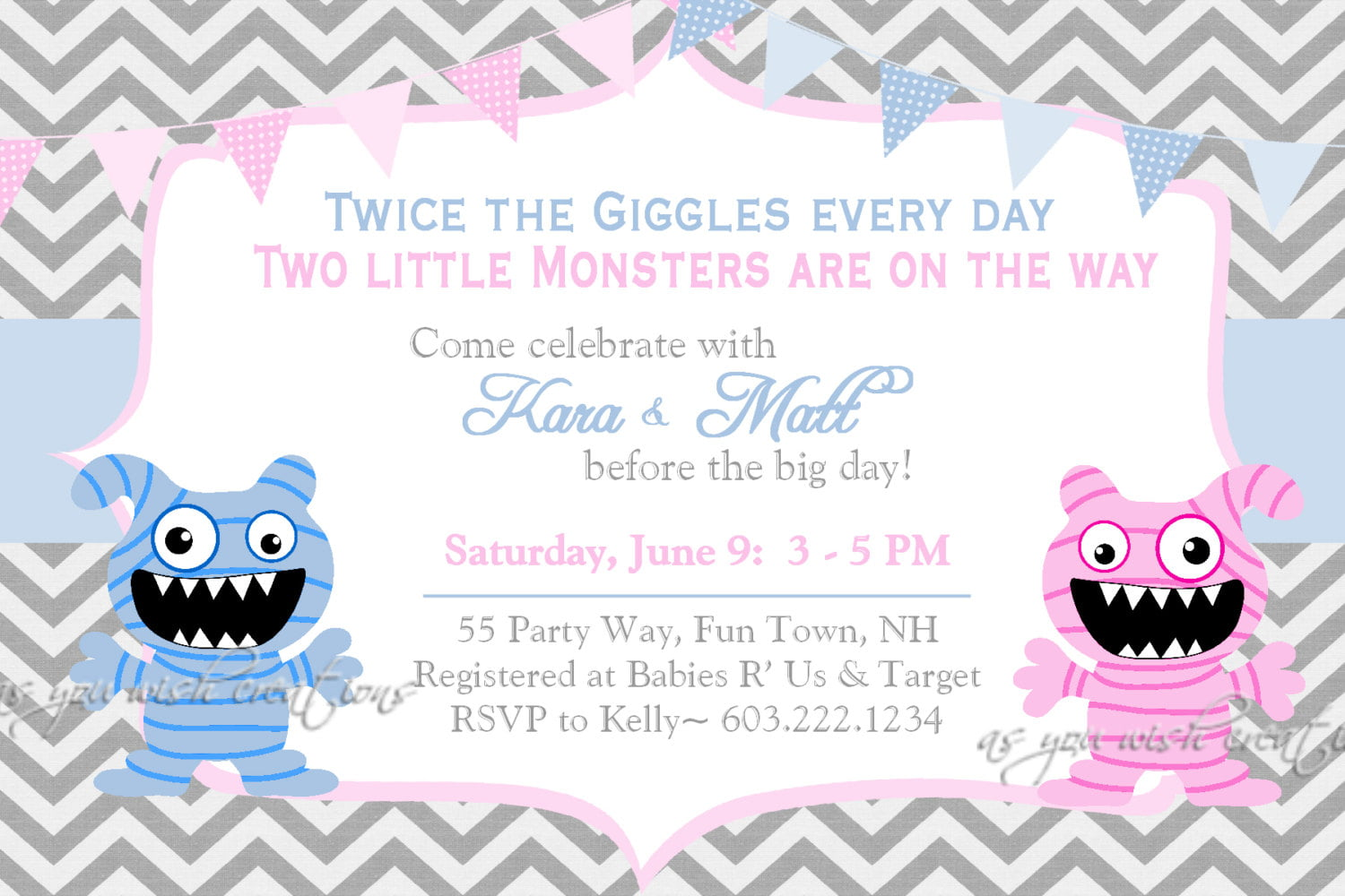 monster twin girl baby shower invitations