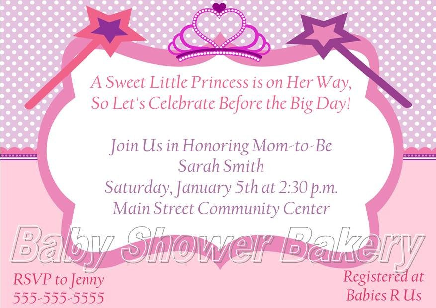 star princess theme baby shower invitations