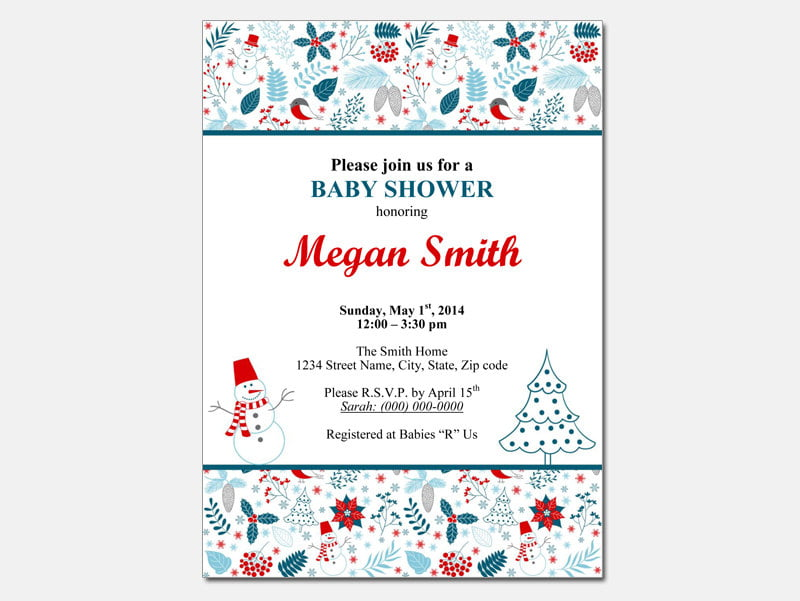 snowflakes free baby shower invitations templates for word