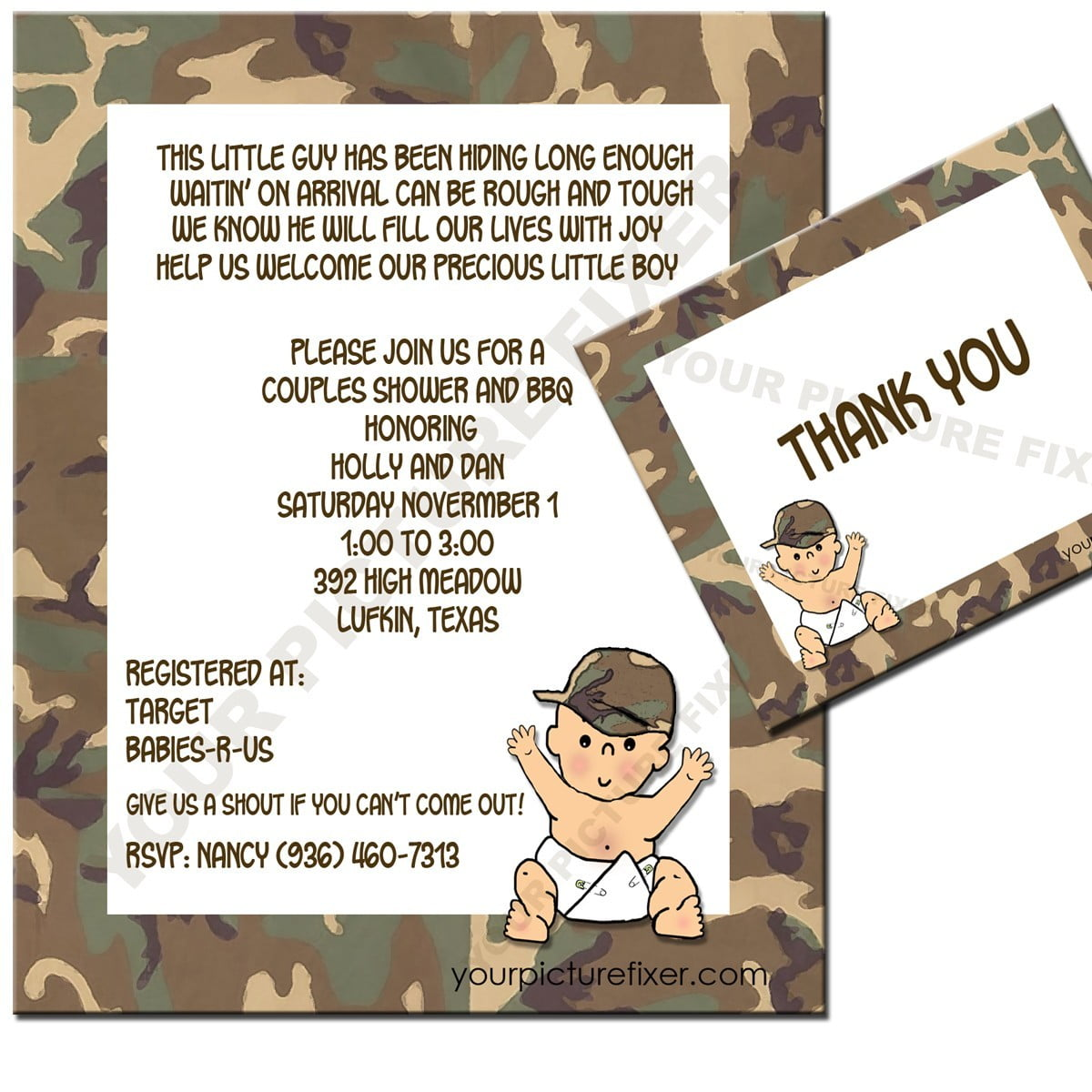 Camouflage Baby Shower Invitations | FREE Printable Baby Shower ...