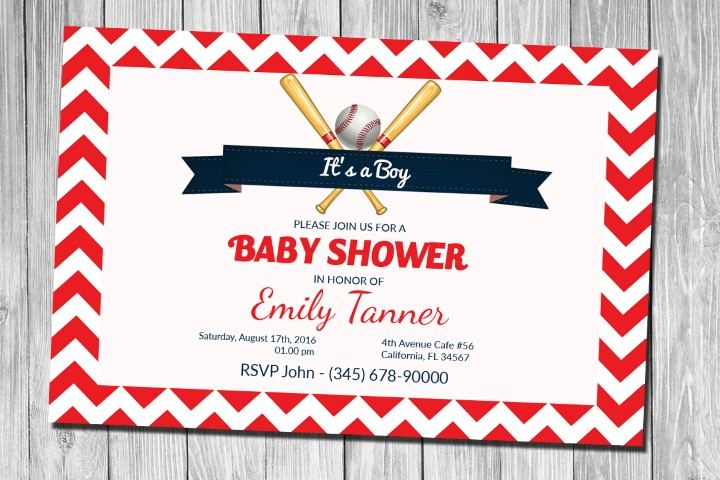 baseball chevron baby shower invitation for boy psd baby shower for