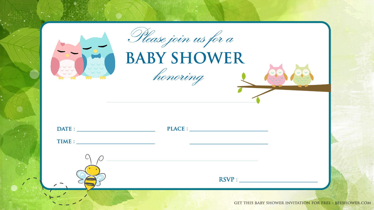 free printable baby owl baby shower invitation baby shower for
