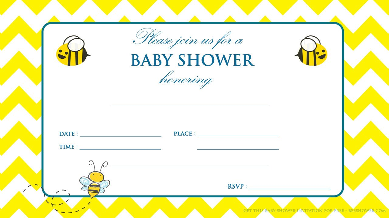 Free Printable Yellow and White Baby Shower Invitation | FREE ...