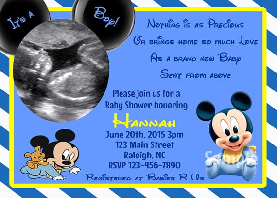 Blank Mickey Mouse Baby Shower Invitations | FREE ...