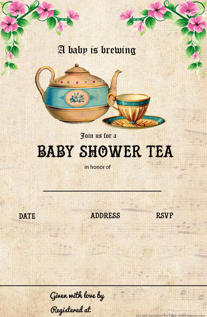 Free Printable Tea Party Baby Shower Invitation Template | FREE ...