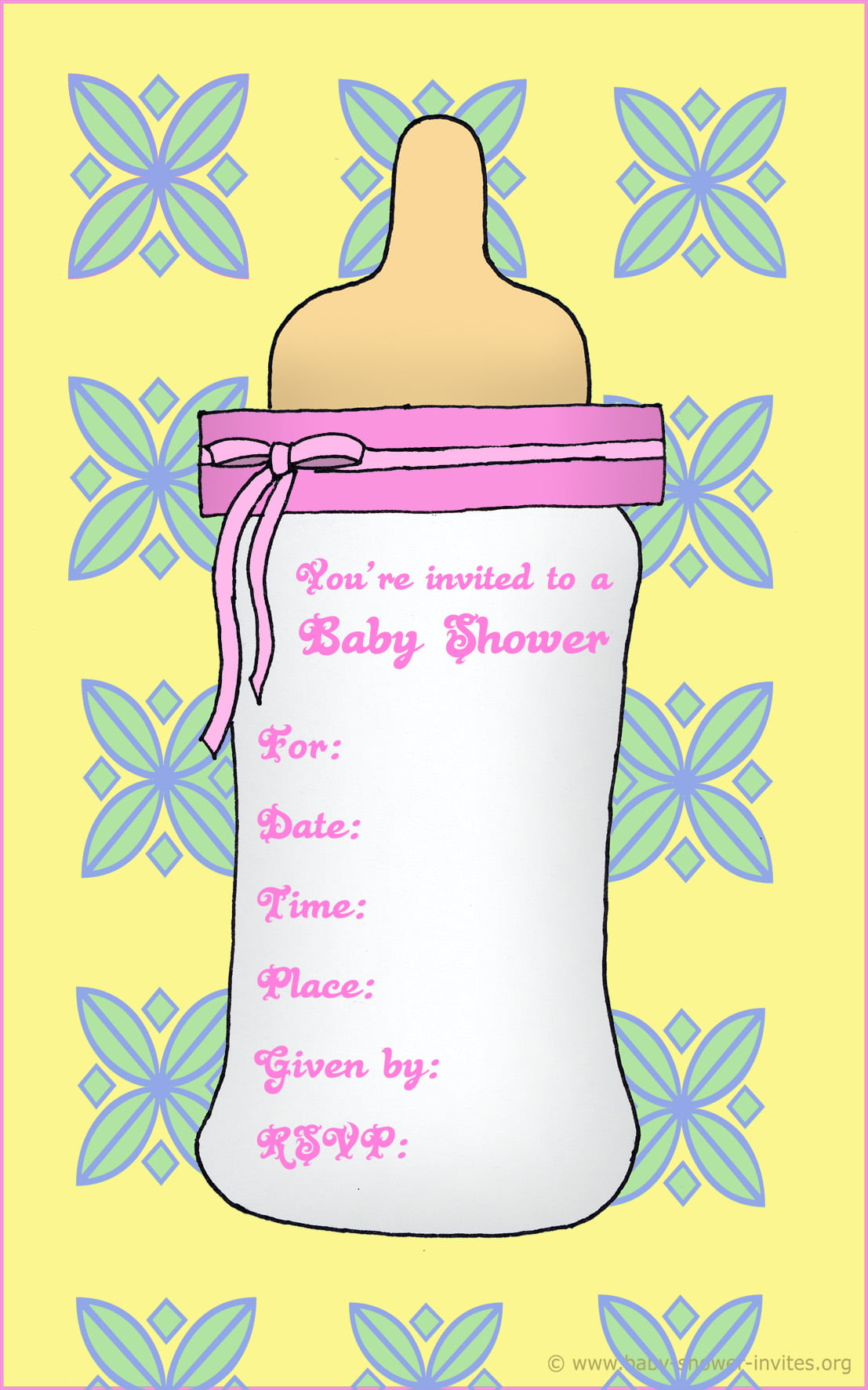 Free printable baby bottle baby shower invitation template for Free printable baby shower invitations templates