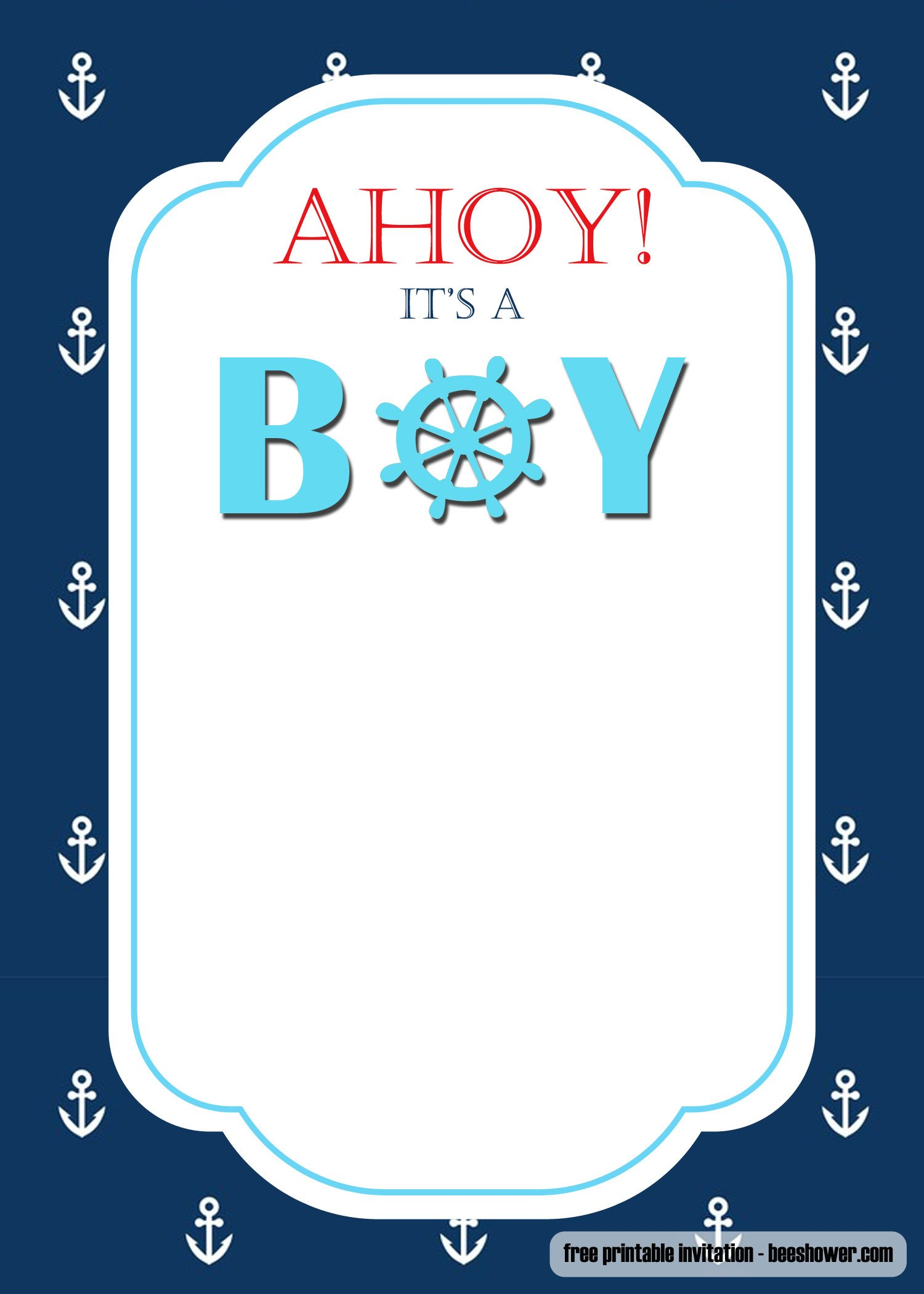 FREE Nautical Themed Baby Shower Invitations Templates ...